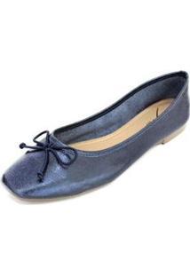 Sapatilha Couro Dali Shoes Bailarina Feminina - Feminino-Azul