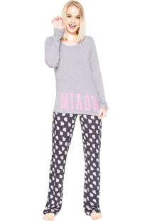 Pijama Any Any Meow Cats Cinza/Azul