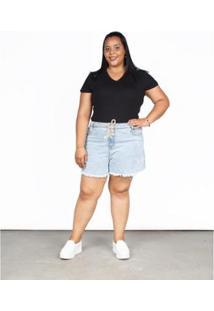 Bermuda Jeans Besni Plus Cordão Barra Desfiada Feminina - Feminino-Azul+Off White