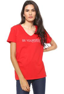 Camiseta Calvin Klein Jeans Be Yourself Vermelha