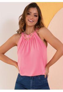 Blusa Rosa Com Franzido