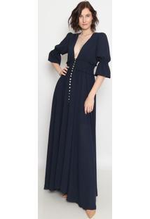 Vestido Longo Com Botões- Azul Marinho- Aboutabout