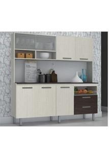 Cozinha Compacta Málaga 07 Portas Branco Com Arena E Cp Ébano - Kit'S Paraná