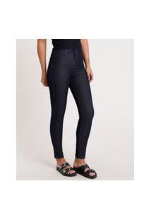 Calça Jeans Feminina Sawary Super Skinny 360 Cintura Alta Azul Escuro
