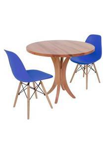 Conjunto Mesa De Jantar Tampo De Madeira 90Cm Com 2 Cadeiras Eiffel - Azul