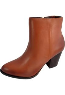 Ankle Boot Salto Sapatoweb Couro Caramelo - Tricae
