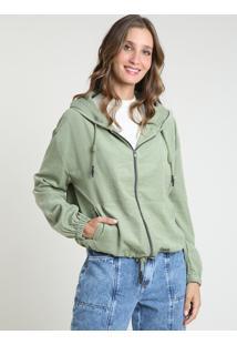 Jaqueta Corta Vento Feminina Com Capuz E Bolsos Verde
