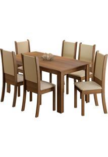Conjunto De Jantar Melissa Mesa De Madeira 6 Cadeiras Madesa