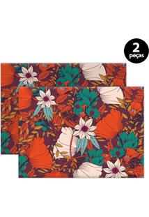 Jogo Americano Mdecore Floral 40X28Cm Vermelho 2Pçs