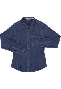 Camisa Jeans Manga Longa Feminina Rodeo Western - Feminino-Azul Escuro