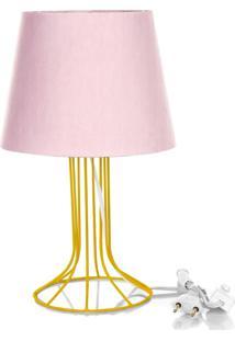Abajur Torre Dome Rosa Com Aramado Amarelo