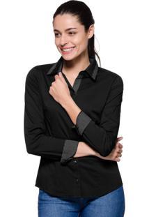 Camisa Intens Manga Longa Algodão Estampado Preto