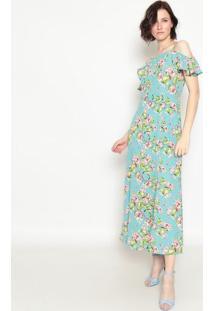 Vestido Longo Floral- Azul & Verde- Operateoperate