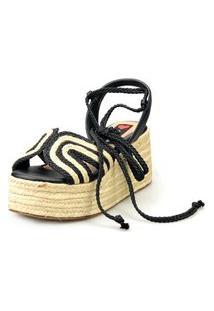Anabela Espadrille Love Shoes Corda Amarrar Cadarço Preto