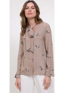 Camisa Floral Com Laço Na Gola