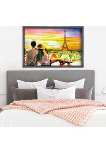 Quadro Love Decor Com Moldura Amour Parisien Grafitti Metalizado - Grande