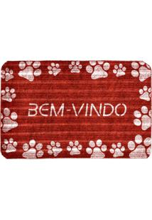 Capacho Love Decor Carpet Bem Vindo Com Patinhas Brancas Vermelho Único