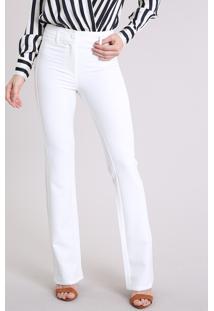 Calça Feminina Flare Cintura Alta Off White