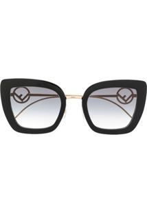 Fendi Eyewear Óculos De Sol Gatinho Oversized - Preto