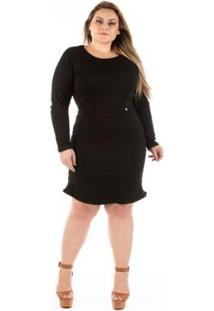 Vestido Confidencial Extra Plus Size Jeans Com Babado Lucky Black - Feminino-Preto