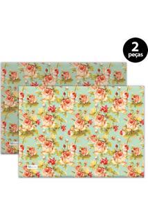Jogo Americano Mdecore Floral 40X28 Cm Verde 2Pçs