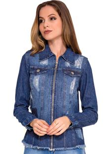 Jaqueta Jeans Rosa K Destroyed Azul