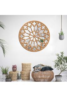 Escultura De Parede Wevans Mandala Premium, Madeira + Espelho Decorativo
