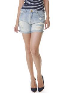Bermuda Jeans Multi Ponto Denim Boyfriend Rasgos Azul