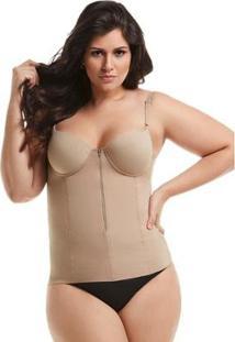 Blusa Modeladora Com Bojo E Ziper Mondress Feminino - Feminino-Bege