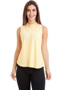 Blusa Kinara Regata Gola G - Feminino-Amarelo