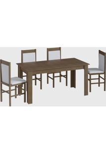 Conjunto Mesa Elast. 8 Cadeiras Ameixa Negra Móveis Cançáo - Tricae