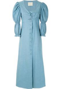 Framed Vestido Decote Torcido Greta - Azul