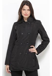 Casaco Facinelli Trench Coat Feminino - Feminino-Preto