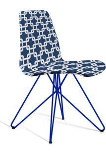 Cadeira De Jantar Eames Butterfly Azul E Branco
