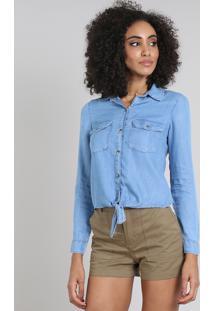 Camisa Jeans Feminina Com Bolsos E Nó Manga Longa Azul Claro