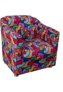 Poltrona Decorativa Tilla Recepção Estampado Colorido D15 - D'Rossi