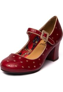 Sapato Mzq Boneca Vermelho Amora / Taupe 7825 - Kanui