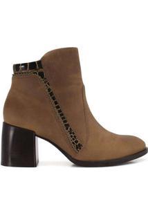 Ankle Boots Feminina Ramarim Mini Tachas Caramelo
