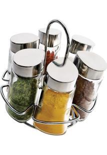 Conjunto Porta Condimentos Com Suporte E Dosador 6 Pçs