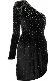 Retrofete Vestido De Veludo Com Aplicações De Cristais - Preto