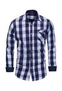 Camisa Masculina Xadrez Bolso Frontal Manga Longa - Azul