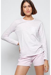 Camiseta Mescla Com Bolso - Liláslevis