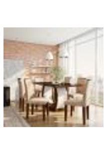 Conjunto De Mesa De Jantar Com Vidro E 6 Cadeiras Olívia Ii Suede Animalle Castor E Chocolate