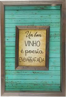 Quadro Porta Rolhas De Vinho Sobreposto Madeira Mdf E Vidro Para Decoração - Art Frame Marrom