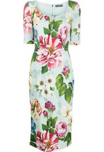 Dolce & Gabbana Vestido Midi Com Estampa Floral - Azul