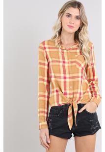 Camisa Feminina Estampada Xadrez Com Nó Manga Longa Mostarda