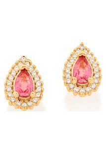 Brinco Bijoulux Dourado De Gota Com Cristal Rosa E Zircônias Rommanel