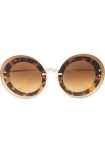 73abbffff431f ... Miu Miu Eyewear Óculos De Sol Redondo - Marrom