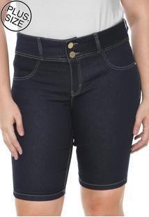 Bermuda Jeans Lunender Mais Mulher Plus Reta Pespontos Azul-Marinho