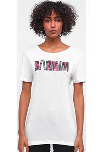 Camiseta Carmim Estampada Manga Curta Feminina - Feminino-Off White